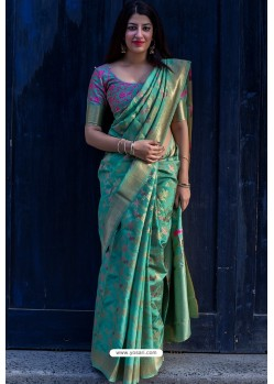 Aqua Mint Designer Party Wear Silk Saree