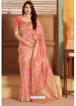 Peach Designer Party Wear Silk Saree