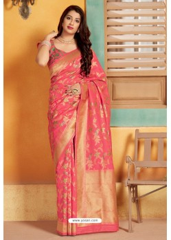 Rani Pink Designer Party Wear Silk Saree