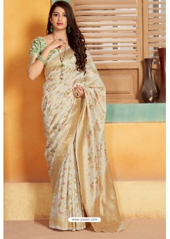 Off White Designer Party Wear silk Saree