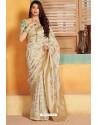 Off White Designer Party Wear Silk Saree