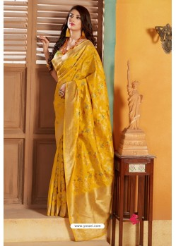 Yellow Designer Party Wear silk Saree