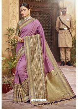 Light Pink Traditional Designer Banarasi Silk Saree