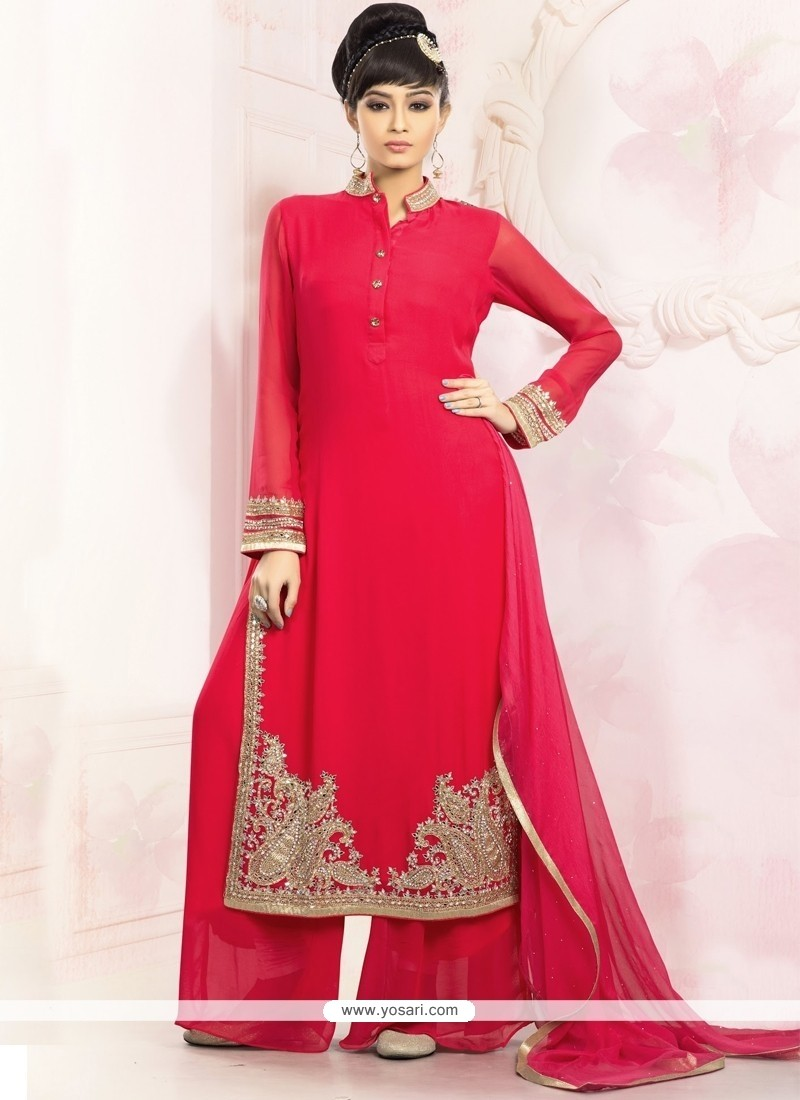 Attractive Faux Georgette Red Designer Palazzo Salwar Suit