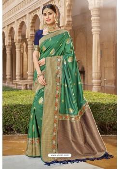 Forest Green Designer Traditional Wear Silk Saree