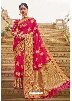 Adorable Rani Pink Designer Traditional Wear Silk Saree