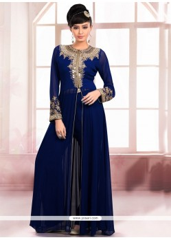 Mystic Faux Georgette Navy Blue Embroidered Work Designer Salwar Kameez