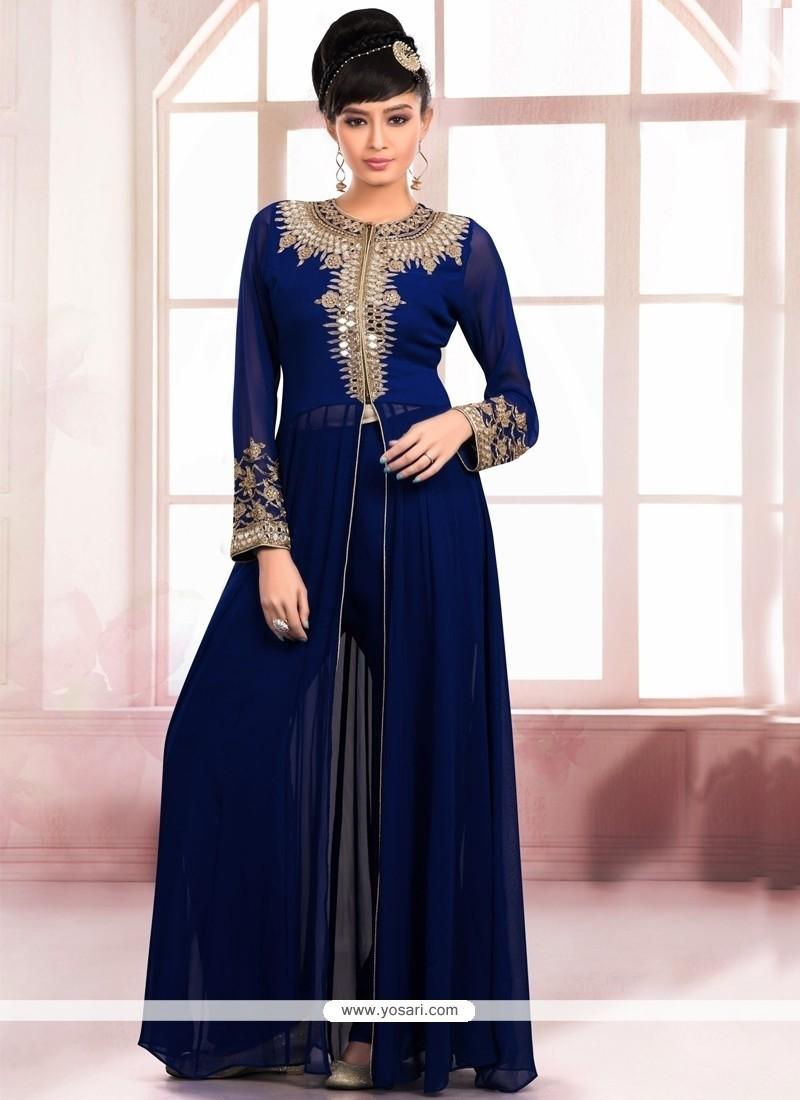 Mystic Faux Georgette Navy Blue Embroidered Work Designer Salwar Kameez
