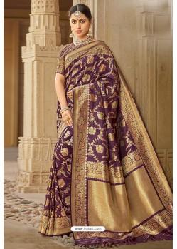 Purple Designer Traditional Wear Silk Saree