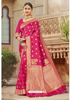 Flawless Rani Pink Designer Traditional Wear Silk Saree