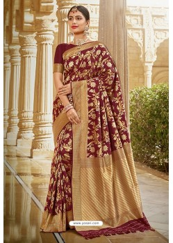 Maroon Designer Traditional Wear Silk Saree
