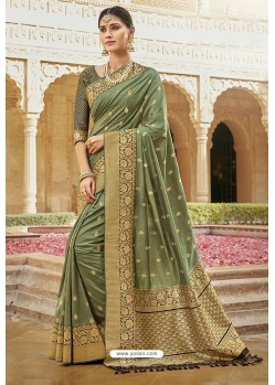 Sea Green Designer Traditional Wear Silk Saree