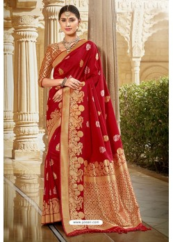 Pretty Red Designer Traditional Wear Silk Saree