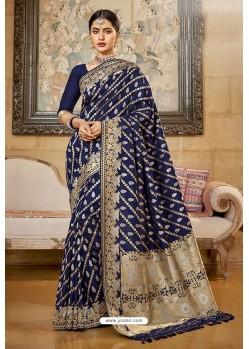 Navy Blue Designer Traditional Wear Silk Saree
