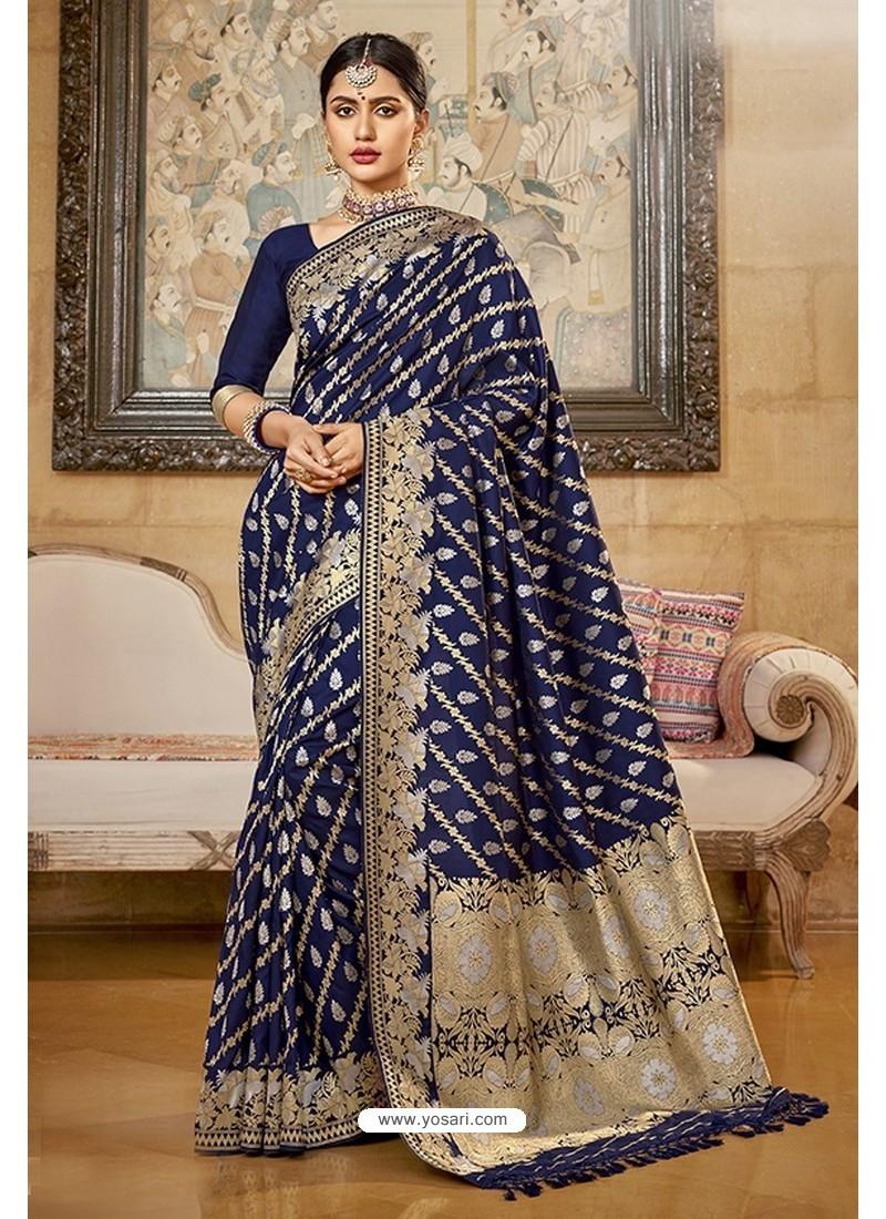 Navy Blue Designer Traditional Wear Silk Saree