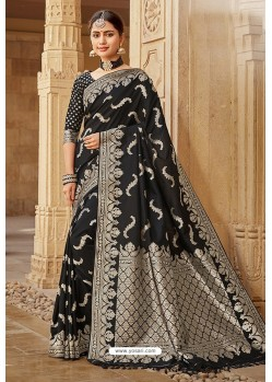 Black Designer Traditional Wear Silk Saree