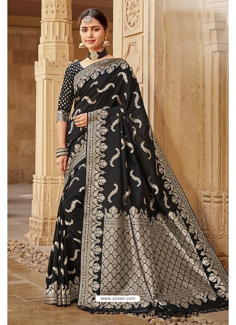 Black Designer Traditional Wear Silk Saree