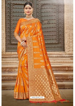 Orange Designer Traditional Wear Silk Saree