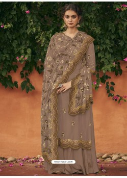 Brown Italian Silk Partywear Palazzo Suit
