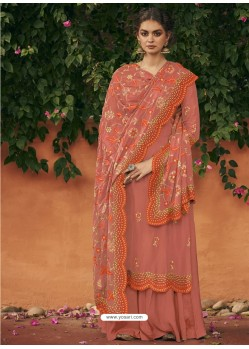 Orange Italian Silk Partywear Palazzo Suit