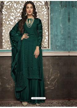 Dark Green Faux Georgette Heavy Designer Palazzo Suit