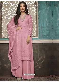 Pink Faux Georgette Heavy Designer Palazzo Suit