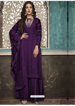 Purple Faux Georgette Heavy Designer Palazzo Suit