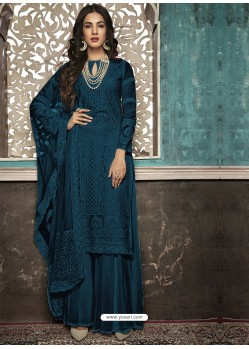 Navy Blue Faux Georgette Heavy Designer Palazzo Suit