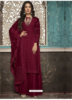 Maroon Faux Georgette Heavy Designer Palazzo Suit