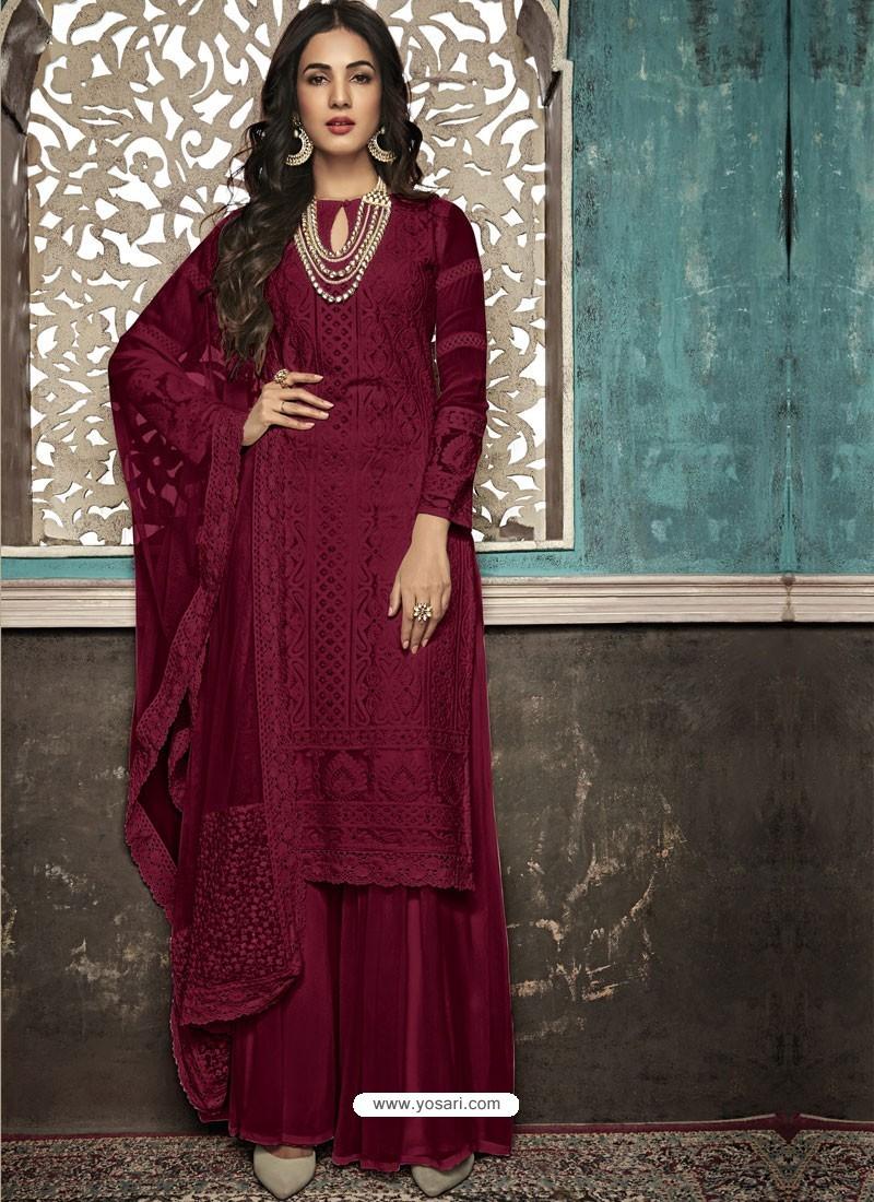 Maroon Faux Georgette Heavy Designer Palazzo Suit