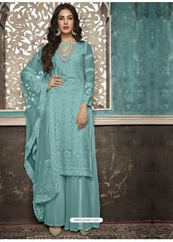 Sky Blue Faux Georgette Heavy Designer Palazzo Suit