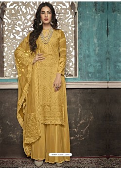 Yellow Faux Georgette Heavy Designer Palazzo Suit