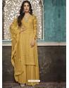 Yellow Faux Georgette Heavy Designer Palazzo Suit