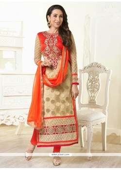 Karishma Kapoor Cream And Orange Georgette Churidar Suit
