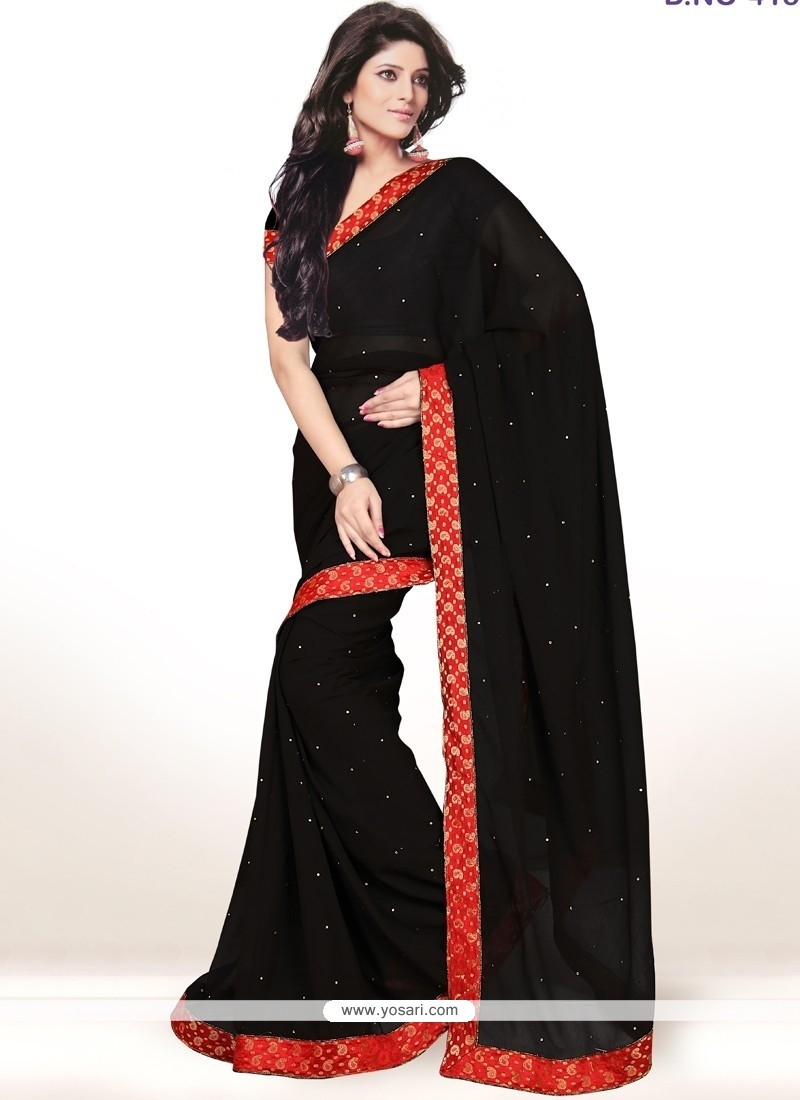Awesome Black Lace Work Casual Saree