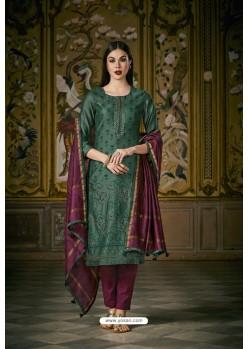 Dark Green And Purple Heavy Chanderi Silk Designer Straight Suit