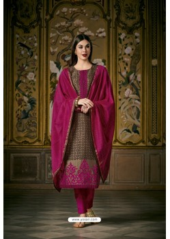 Brown And Pink Heavy Chanderi Silk Designer Straight Suit