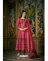 Hot Pink And Blue Heavy Chanderi Silk Designer Straight Suit