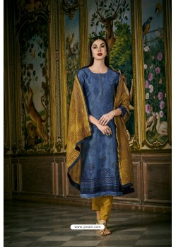 Blue And Mustard Heavy Chanderi Silk Designer Straight Suit
