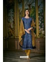 Blue And Mustard Heavy Chanderi Silk Designer Straight Suit