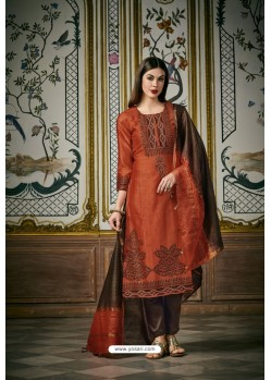 Orange And Coffee Heavy Chanderi Silk Designer Straight Suit