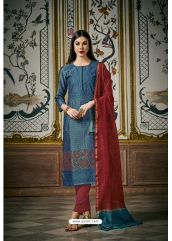 Blue And Pink Heavy Chanderi Silk Designer Straight Suit