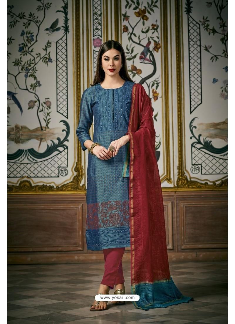 Blue And Pink Heavy Chanderi Silk Designer Straight Suit