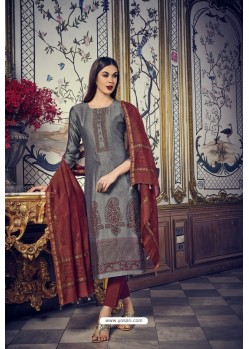 Grey And Brown Heavy Chanderi Silk Designer Straight Suit
