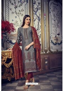 Grey And Brown Heavy Chanderi Silk Designer Straight Suit