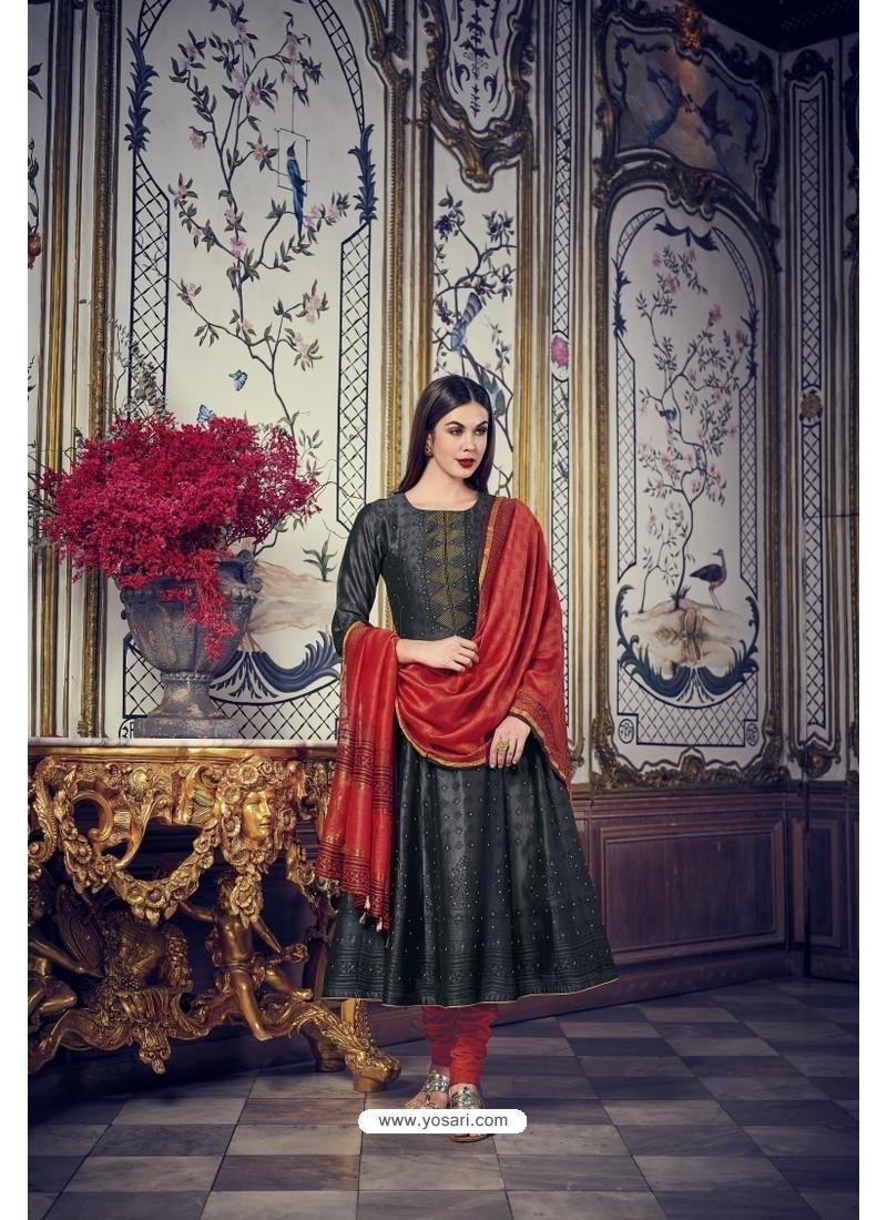 Black And Red Heavy Chanderi Silk Designer Straight Suit