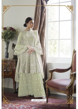 Sea Green Heavy Designer Soft Net Sharara Suit