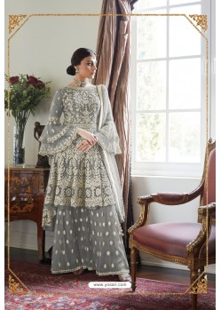 Grey Heavy Designer Soft Net Sharara Suit