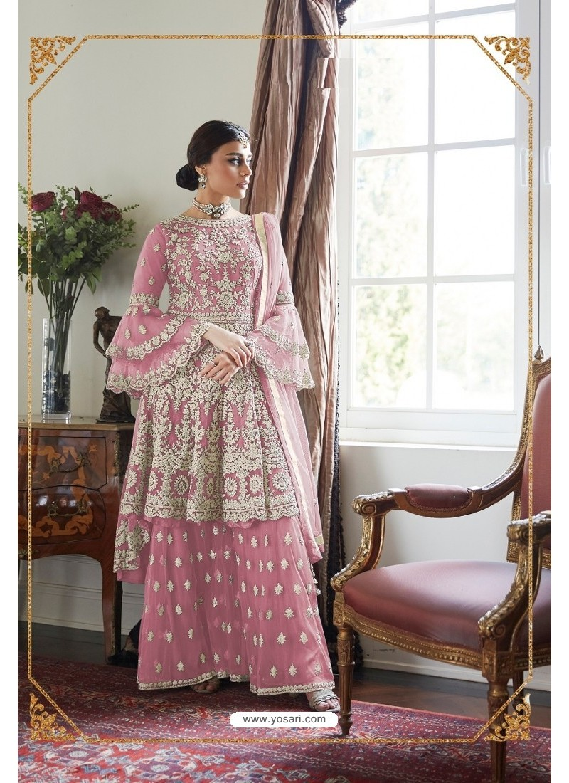 Light Pink Heavy Designer Soft Net Sharara Suit