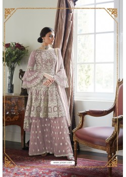 Mauve Heavy Designer Soft Net Sharara Suit